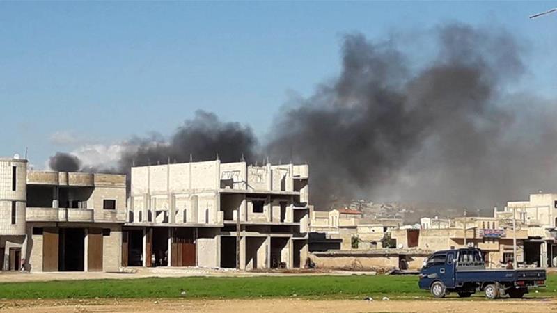 Air attacks hit Saraqib, Idlib Governorate in Syria back in February, 2018 [Anadolu]