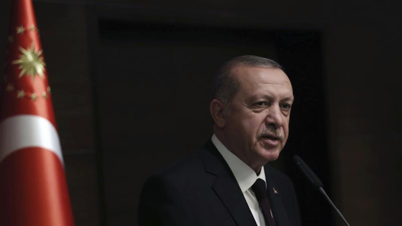 Erdogan has accused Israel of being a 'terrorist state', saying it's committing 'genocide' against Palestinians [Presidential Press Service via AP]