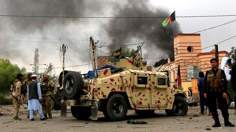 Afghan security forces keep watch during blasts and gun battle in Jalalabad city [Parwiz/Reuters]