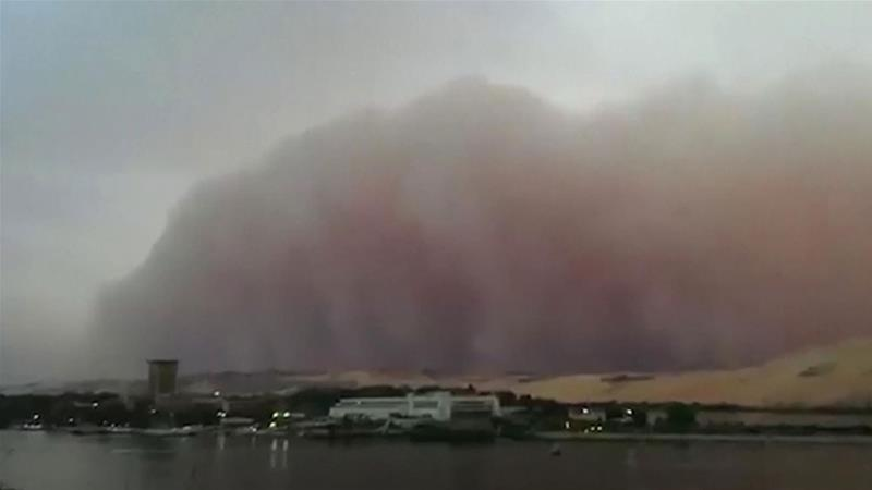 The haboob churned across Aswan, causing the visibility to plummet. [Eshraq Tantawy/AP]