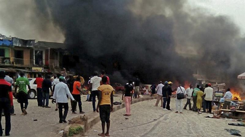Two suicide bombers detonated explosives during afternoon prayers in Mubi town on Tuesday [EPA]