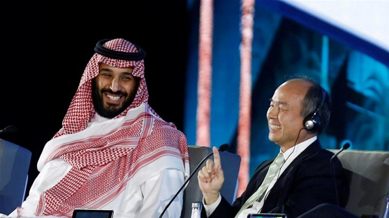 Saudi Crown Prince Mohammed bin Salman and Masayoshi Son, SoftBank Group Corp. Chairman, attend the Future Investment Initiative conference in Riyadh, October 24, 2017 [Faisal Al Nasser/Reuters]
