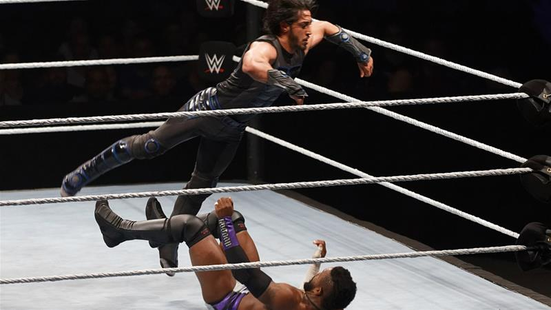 Mustafa Ali takes on Cedric Alexander at a WWE bout in Paris [Sylvain Lefevre/Getty Images]