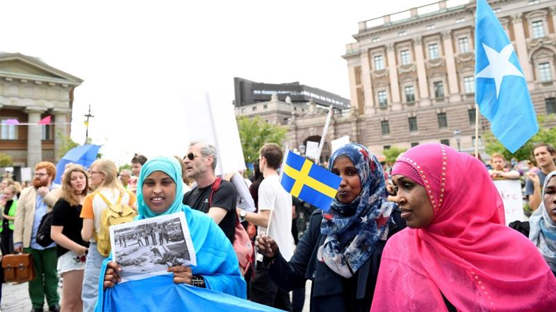 Protesters in front of Sweden's parliament in Stockholm in September 2016 [File: TT News Agency/Reuters]
