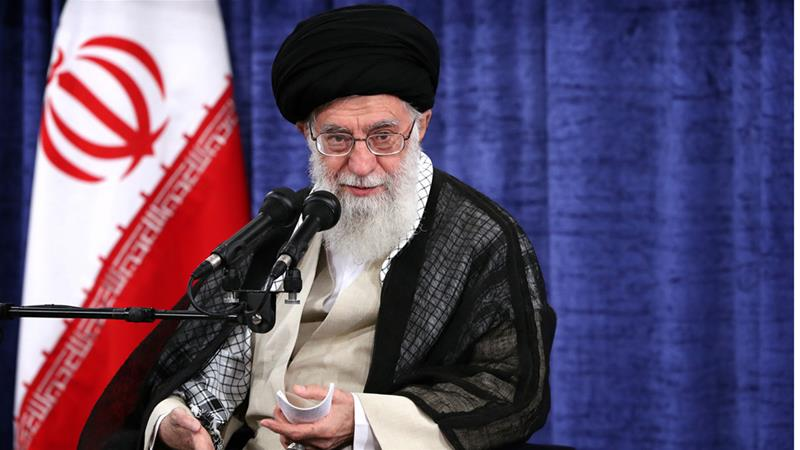 Ayatollah Ali Khamenei speaks at a meeting with officials in Tehran on Wednesday [Office of the Iranian Supreme Leader via AP]