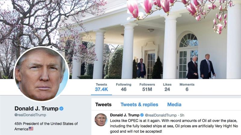 The account @realDonaldTrump has 52.2 million followers on Twitter [File: Reuters]