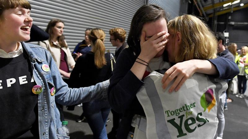 Activists react at the count centre as votes are tallied folowing yesterday''s referendum on liberalising Ireland's abortion law [Clodagh Kilcoyne/Reuters]