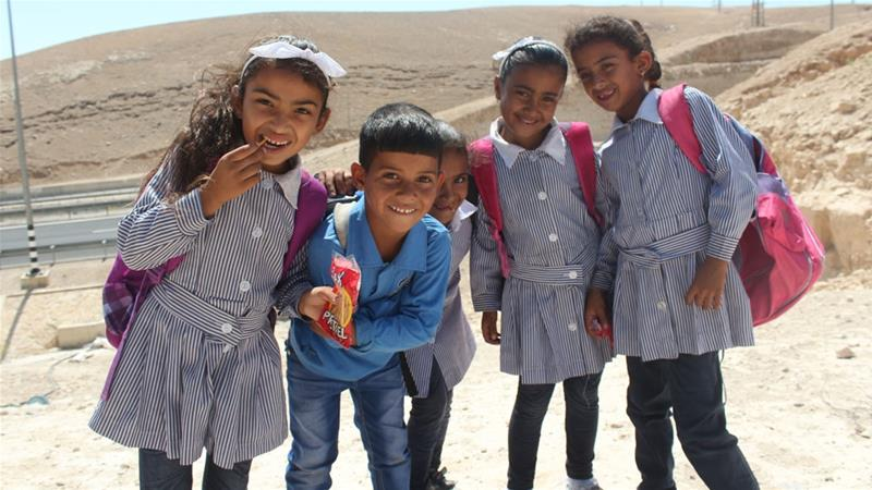 The Itarat School, which services around 200 children from Khan al-Ahmar and surrounding Bedouin communities, faces demolition by Israeli authorities  [Shatha Hammad/Al Jazeera]