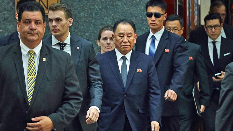 North Korea's Kim Yong-chol, centre, leaves a hotel in New York late on Wednesday [Andres Kudacki/AP]
