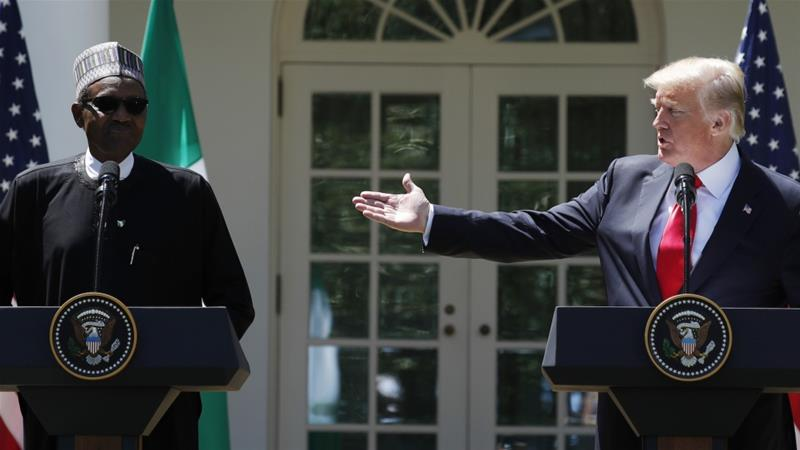 Nigeria's President Muhammadu Buhari attends a press conference with US President Donald Trump in Washington, DC [Reuters]