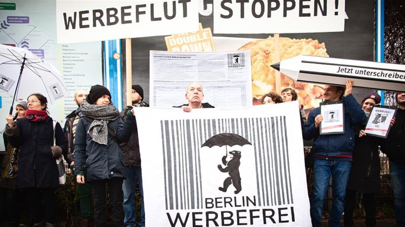 Supporters gather in Berlin to launch the Berlin Werbefrei campaign on January 16. They now have until July to go to get the required number of petition signatures [Berlin Werbefrei/Al Jazeera]