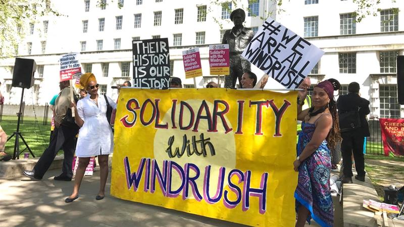 A protest was held in support of the Windrush community in Central London [Claire Gilbody-Dickerson/ Al Jazeera]