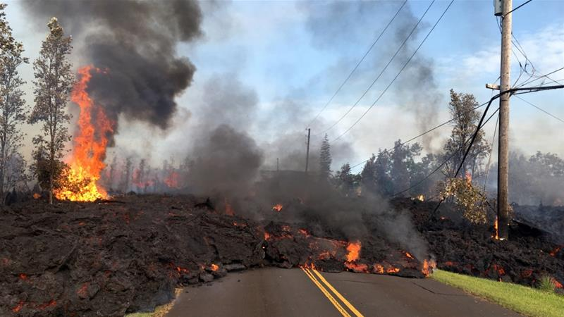 Lava from a fissure advances after the eruption of Hawaii's Kilauea volcano earlier this month [AP]