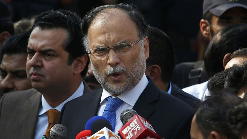 Interior Minister Ahsan Iqbal was the victim of an assassination attempt last Sunday [File: The Associated Press]