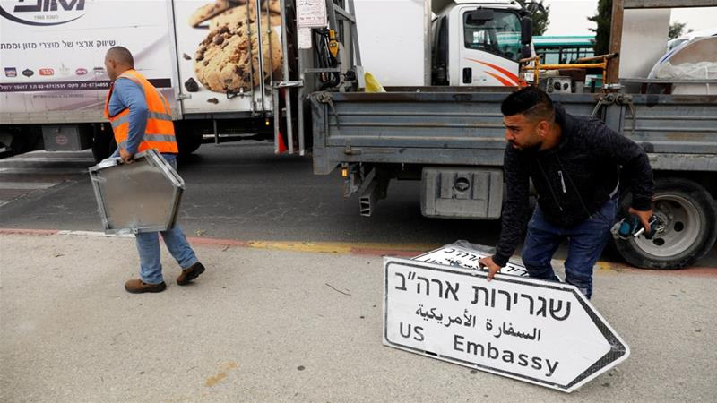 'US Embassy' road signs appear in Jerusalem