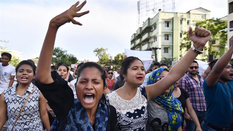 People rallied in Guwahati demanding justice for the youth lynched in Karbi Anglong district [Biju Boro/AFP]