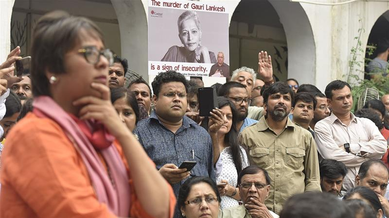 Journalists gather after the killing of senior journalist Gauri Lankesh, at the Press Club in New Delhi on September 6, 2017 [Raj K Raj/Hindustan Times via Getty Images]