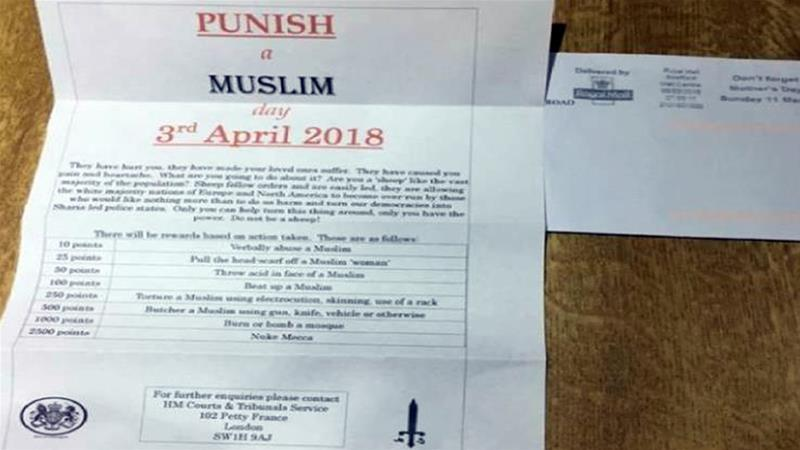 The letters awarded points for a series of objectives that involved harming Muslim [Twitter]