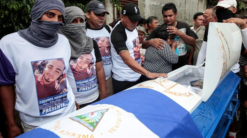 Mourners attend the funeral service of Agustin Ezequiel Mendoza, who was shot in recent protests against Ortega's government [Oswaldo Rivas/Reuters]