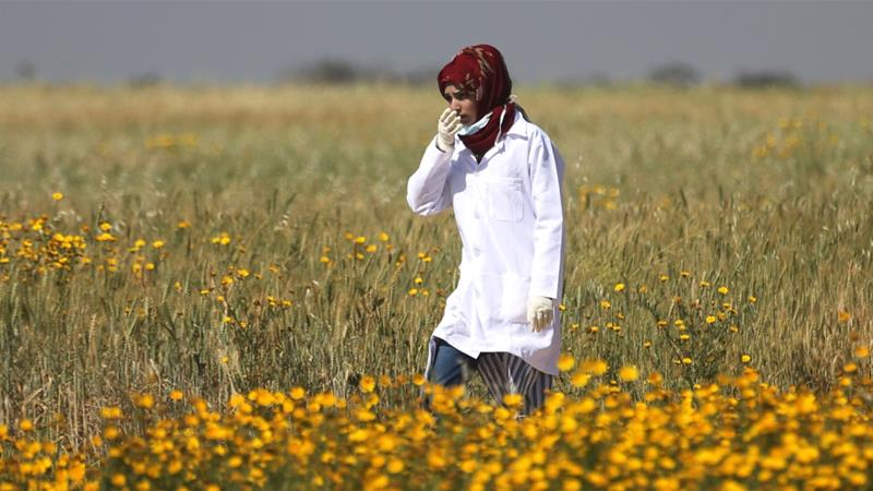 Palestinian medic Razan al-Najjar, who was killed by an Israeli sniper, was featured in an Israel propaganda video claiming she was used as a 'human shield' by Hamas [Reuters/Ibraheem Abu Mustafa]