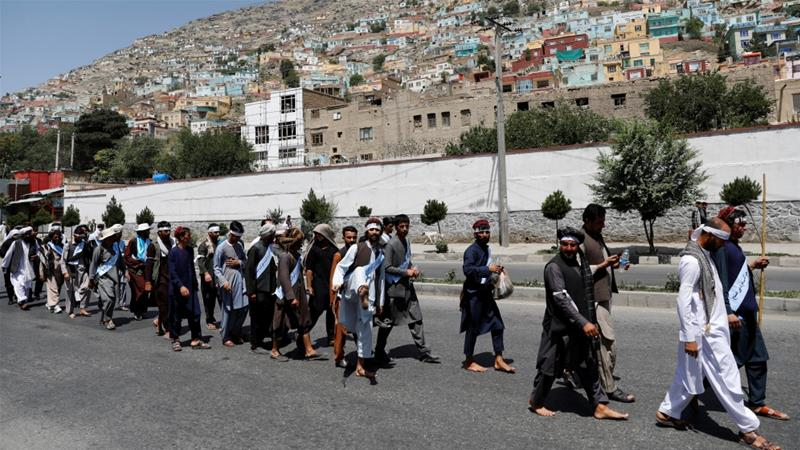 Afghan peace marchers address demands to President Ghani in Kabul