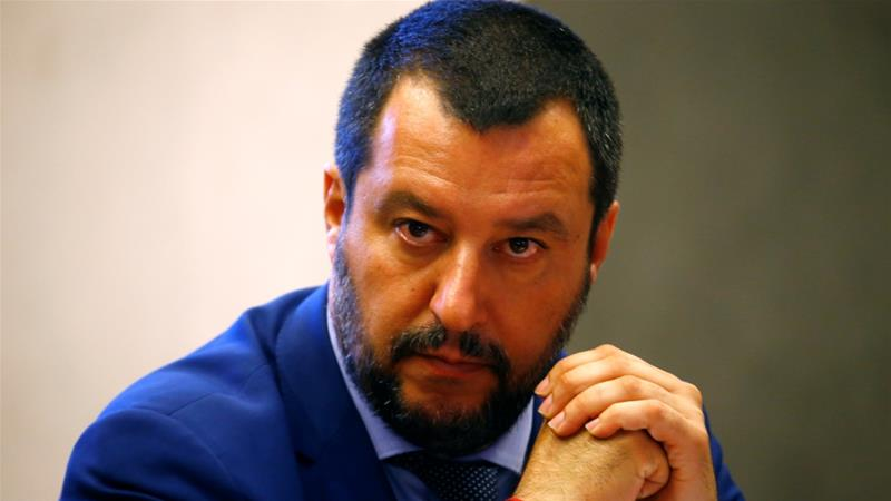 Last week, Salvini barred a ship with more than 600 rescued people on board from docking in Italy [Stefano Rellandini/Reuters]
