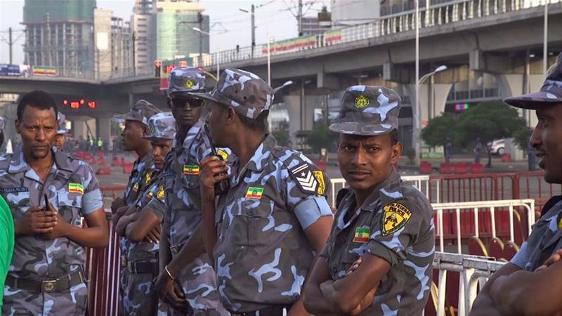 Ethiopian security forces intervened on Meskel Square after the blast at the rally [Dereje Berhanu/Al Jazeera]