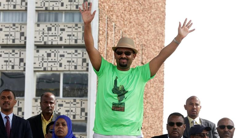 Prime Minister Abiy Ahmed waved to his supporters shortly before the blast at the Addis Ababa rally [Reuters]