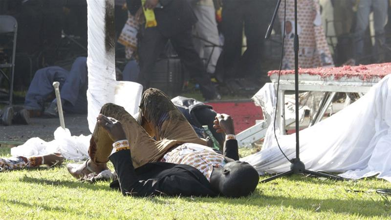 An explosion rocked the stadium where President Mnangagwa was addressing a campaign rally on Saturday [AP]