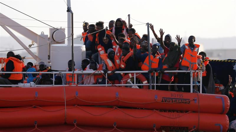 The Lifeline ship was allowed to dock in Malta on on board the ship were allowed to disembark in Malta on Wednesday [Darrin Zannit Lupi/Reuters]