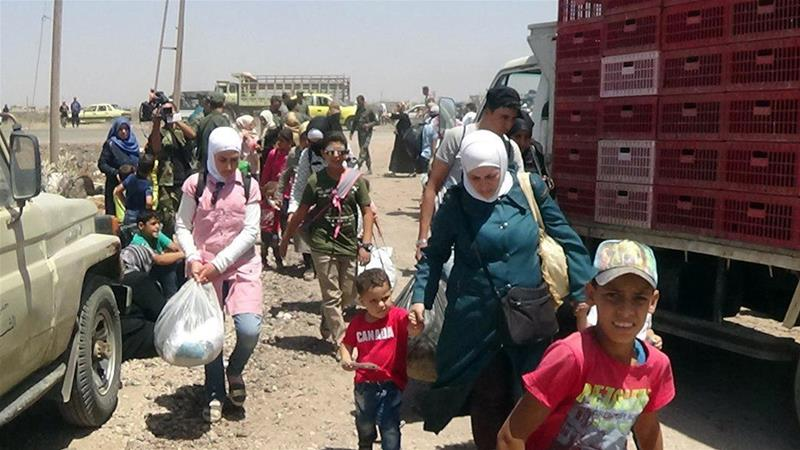 The UN has estimated that 50,000 people have fled the embattled areas in southern Syria in recent days