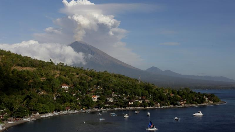 Mount Agung has been spewing clouds of ash up to 2,500 metres into the air since Wednesday [Reuters]