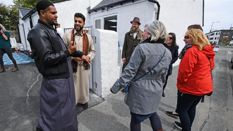Members of the Muslim community attend the opening of the first mosque built on the Outer Hebrides [Jeff J Mitchell/Getty Images]