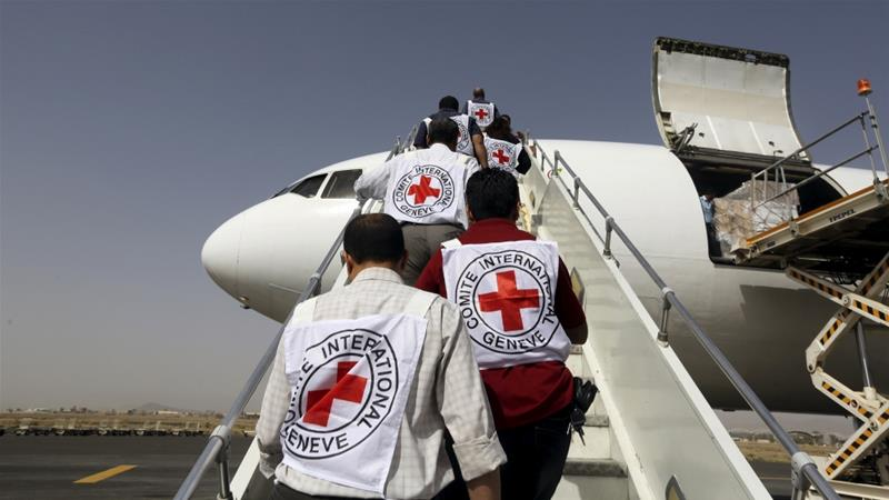 The Red Cross said some 450 ICRC employees would remain [Khaled Abdullah/Reuters]