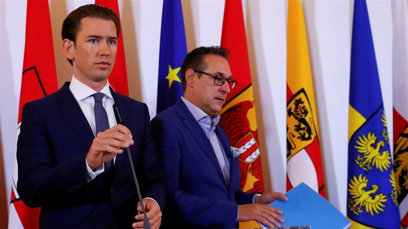 Partners Chancellor Sebastian Kurz, left. and Vice Chancellor Heinz-Christian Strache, right, disagree on the 'population replacement' rhetoric [File:Reuters]