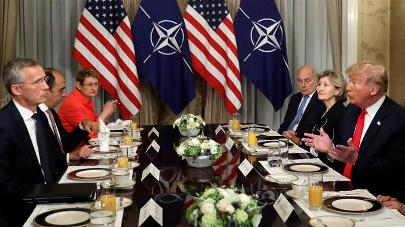 At a meeting with NATO's Stoltenberg, Trump said Germany is 'captive' to Russia [Kevin Lamarque/Reuters]