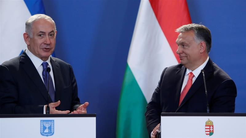 Israel's Netanyahu had paid a visit to Hungary in 2017, right in the middle of a political storm caused by the Hungarian President Viktor Orban's remarks that were deemed anti-Semitic [Reuters]