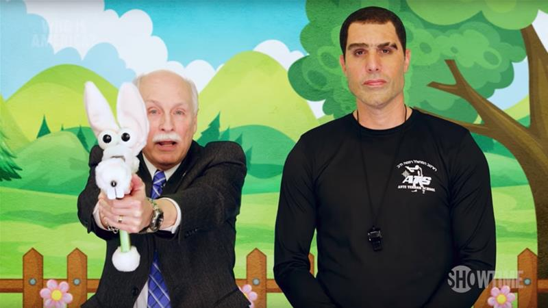 Sacha Baron Cohen asked gun rights activist Philip Van Cleave (pictured left) to help create a training video for toddlers featuring 'gunimals' [Showtime]