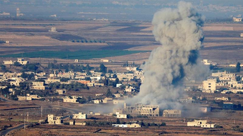 Smoke following an explosion in Syria is seen from the Israeli-occupied Golan Heights near the Israeli Syrian border [File: Ronen Zvulun/Reuters]