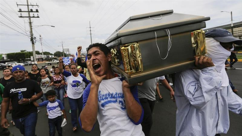Buried on Monday, Gerald Velazquez was shot dead during a 16-hour siege of a church in Managua [Inti Ocon/AFP]