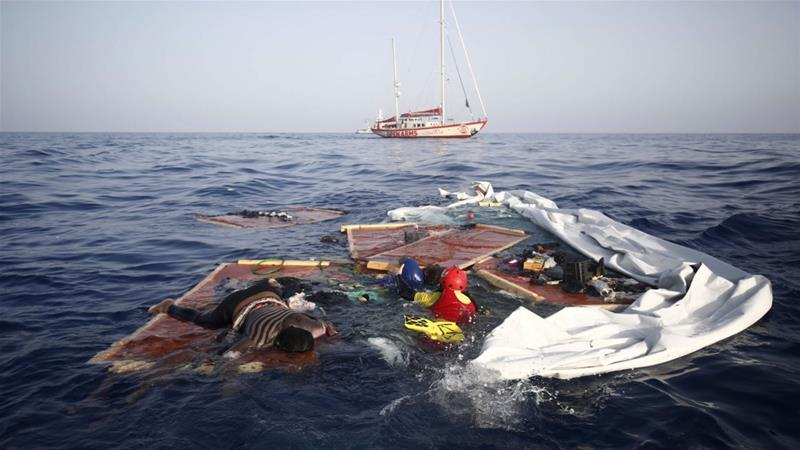The boat carrying the two bodies and one survivor were found about 120km off the Libyan coast [Proactiva Open Arms/AP]