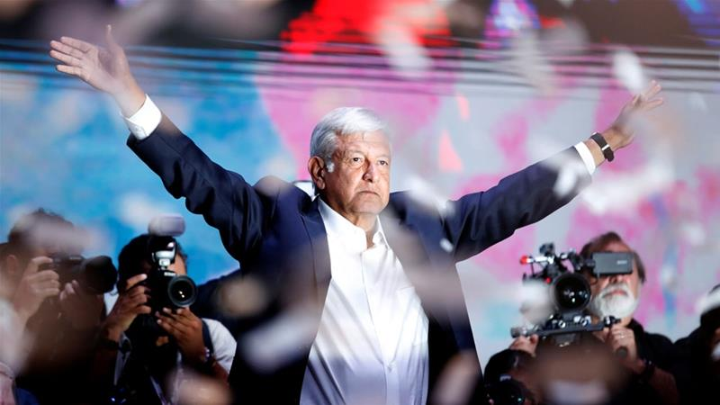Andres Manuel Lopez Obrador addressed his supporters after polls closed [Goran Tomasevic/Reuters]