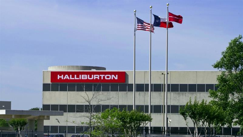 The company logo of Halliburton oilfield services corporate offices is seen in Houston  [File: Richard Carson/Reuters]