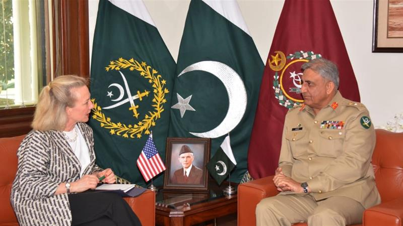 US deputy assistant secretary of state, Alice Wells, meets with Pakistani army chief Gen Qamar Javed Bajwa on July 3 to discuss how to ensure peace in Afghanistan [File: AP]