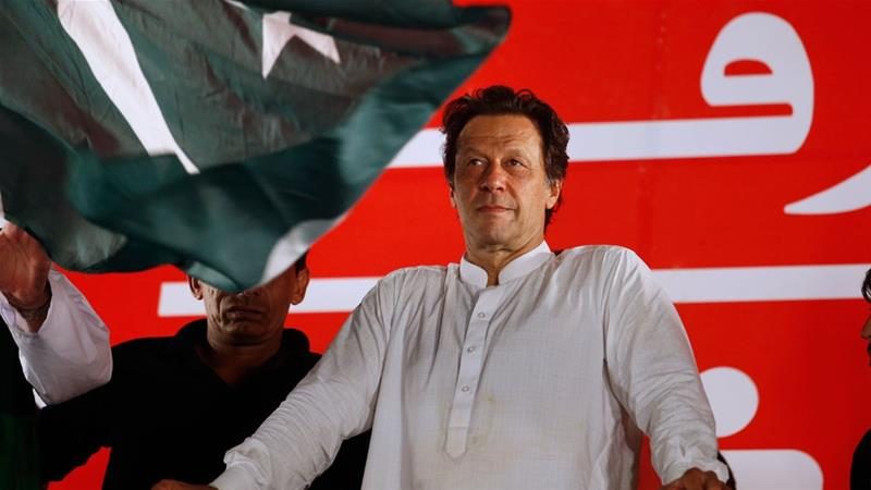 Pakistani cricketer-turned-politician Imran Khan has promised a 'new Pakistan' that is free of corruption [Anjum Naveed/AP]