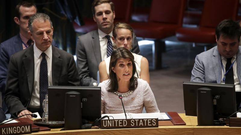Nikki Haley: 'Where are the Arab countries when it comes to supporting compromises that are necessary for peace?' [Drew Angerer/AFP]