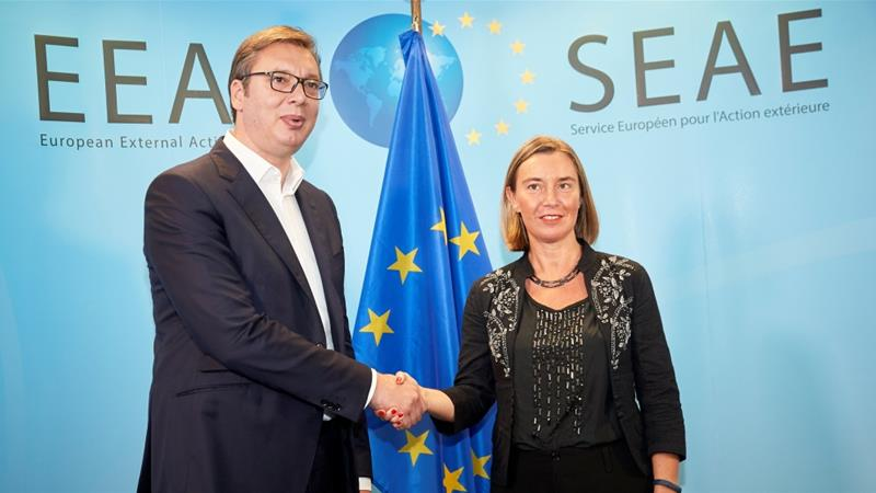 Eu High Representative For Foreign Affairs Federica Mogherini And Serbian President Aleksandar Vucic Pose A