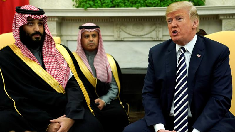 President Donald Trump delivers remarks as he welcomes Saudi Arabia's Crown Prince Mohammed bin Salman in the Oval Office [Jonathan Ernst/Reuters]