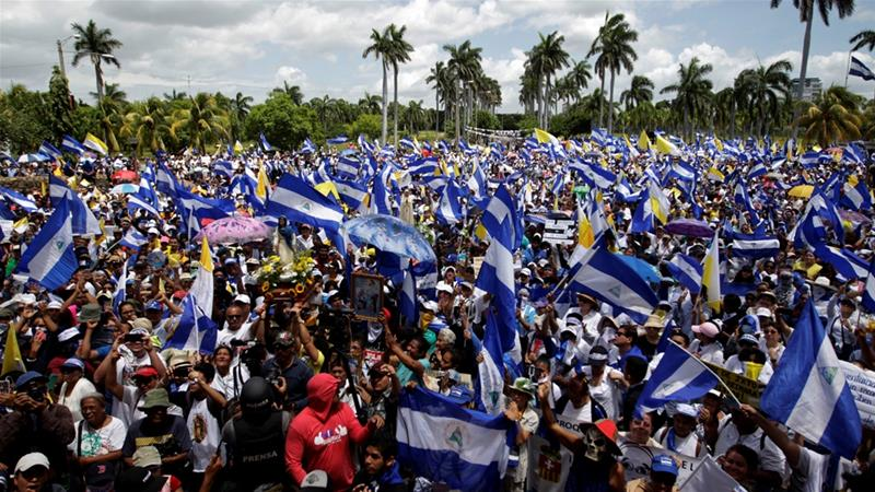 Thousands marched in support of Nicaragua's Catholic Church and its bishops [Jorge Cabrera/Reuters]
