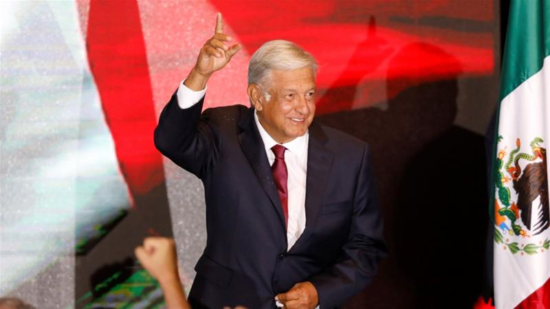 Andres Manuel Lopez Obrador addressed supporters after polls closed [Edgard Garrido/Reuters]